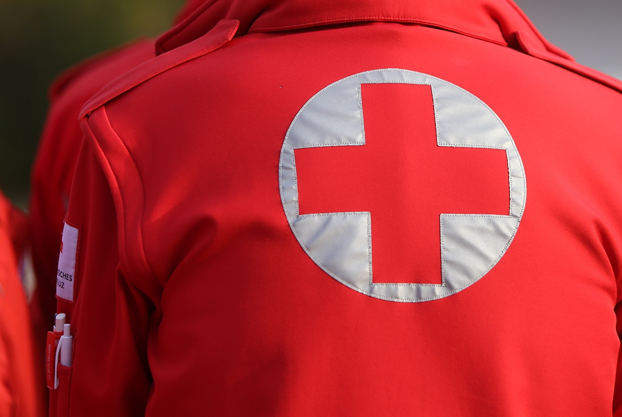 Details with the Austrian Red Cross symbol on a uniform